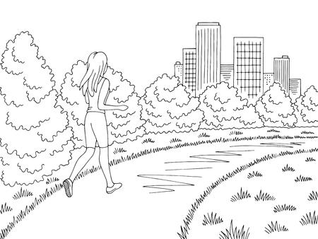 Illustration pour Park graphic black white landscape sketch illustration vector. Girl running - image libre de droit