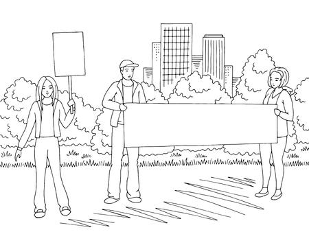 Illustration pour Demonstration graphic black white city street road landscape sketch illustration vector. People are standing - image libre de droit