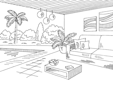 Photo pour Vacation home lounge graphic black white landscape sketch illustration vector - image libre de droit