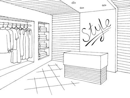 Illustration pour Shop interior graphic black white sketch illustration vector - image libre de droit