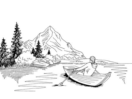 Ilustración de Man rowing in a boat - Imagen libre de derechos