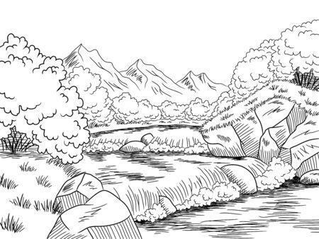 Illustration pour Mountain river graphic black white landscape sketch illustration vector - image libre de droit