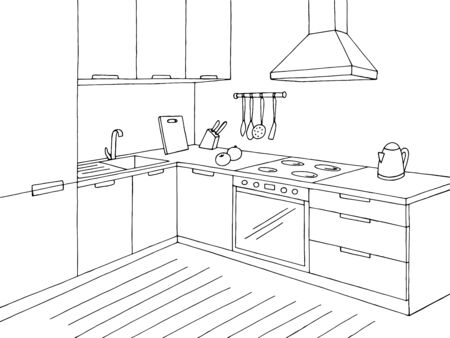 Illustration pour Kitchen room graphic black white home interior sketch illustration vector - image libre de droit