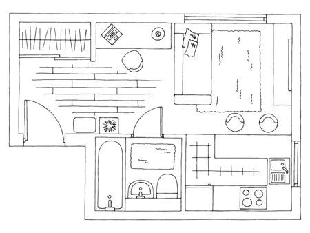 Illustration pour Home plan architecture interior graphic black white sketch illustration vector - image libre de droit