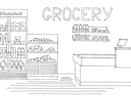 Illustration pour Grocery store shop interior black white graphic sketch illustration vector - image libre de droit
