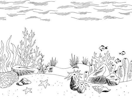 Illustration pour Underwater graphic sea black white sketch illustration vector - image libre de droit