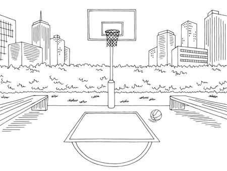 Illustration pour Basketball court street sport graphic black white city landscape sketch illustration vector - image libre de droit