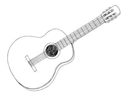 Illustration pour Guitar graphic black white isolated sketch illustration vector - image libre de droit