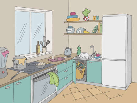 Illustration for Kitchen mess room graphic color home interior sketch illustration vector - Royalty Free Image