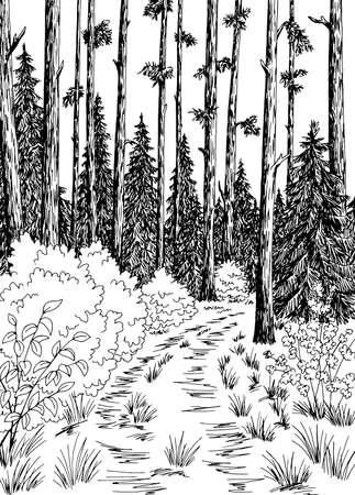 Illustration pour Forest road graphic black white vertical landscape sketch illustration vector - image libre de droit