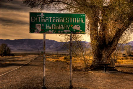 The lonely Extraterrestrial Highway in Nevada, USA.