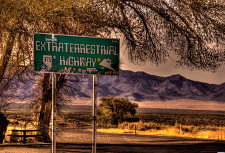 Photo pour Sign for the Extra Terrestrial Highway in area 51 Nevada. - image libre de droit