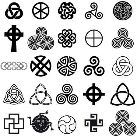 Set of Celtic symbols icons vector. Tattoo design set.