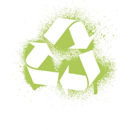 illustration of an ink splatter recycle symbol design element.