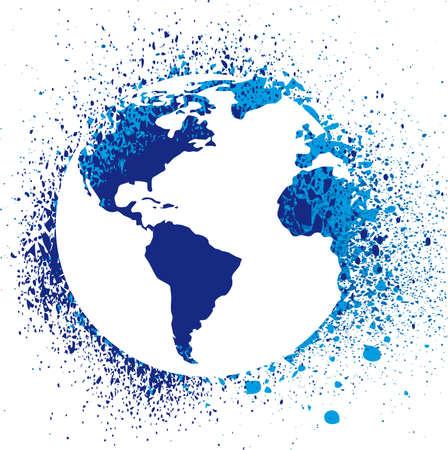 Globe ink splatter illustration. Grunge