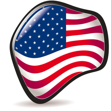 USA, shiny button flag illustration