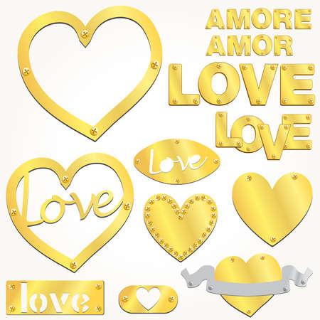 Plate LOVE golden gold heart