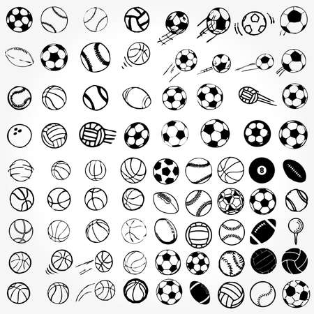 Set Ball sports icons symbols comic illustration