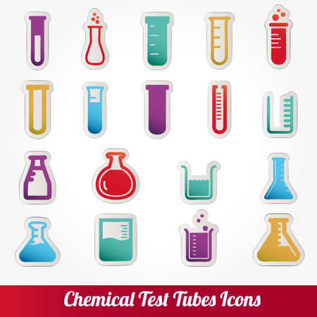 Chemical test tubes icons illustration