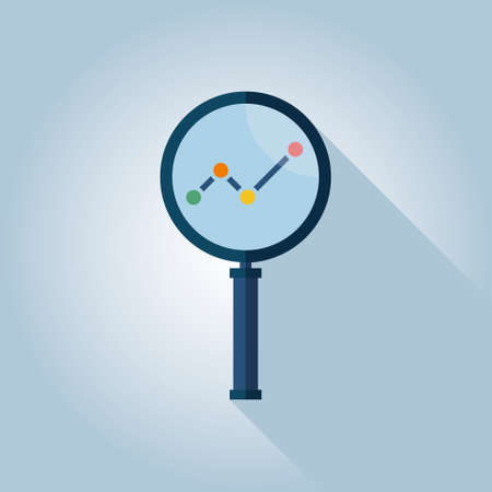 Business Analysis symbol with magnifying glass icon