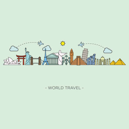 Illustration for Travel and tourism skyline line style. - Royalty Free Image