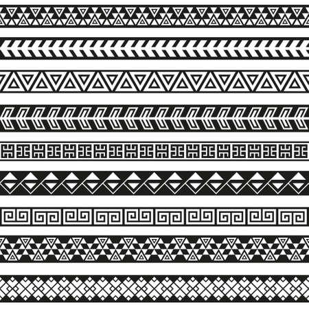 Photo for Seamless vector tribal borders. Tribal vintage ethnic seamless backdrop. Boho fashion style pattern - Royalty Free Image