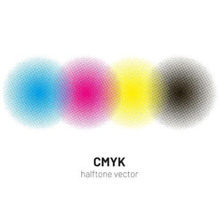 Ilustración de CMYK halftone rounds background vector - Imagen libre de derechos