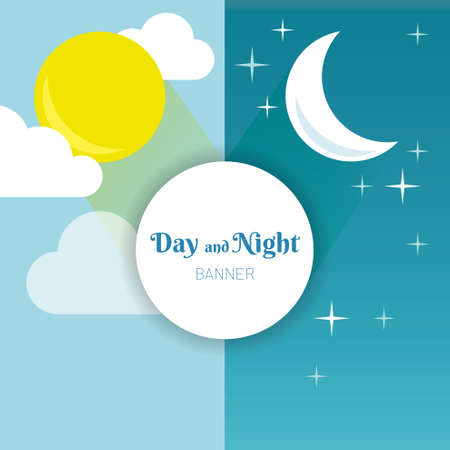 Illustration pour Day and Night layout. Sun, moon, stars and clouds banner. Weather background. Forecast concept banner. Daytime poster.  - image libre de droit