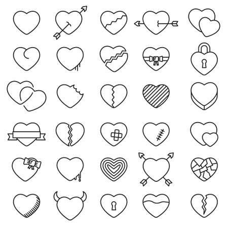 Illustration pour Set of 30 simple icons hearts for Valentine's day, web design, sites, applications, games, stickers… - image libre de droit