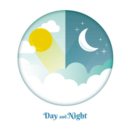 Day and Night layout. Sun, moon, stars and clouds icon. Weather background. Forecast concept banner. Daytime poster.