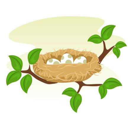 Ilustración de Stock Vector of a Birds Nest and Egg - Imagen libre de derechos