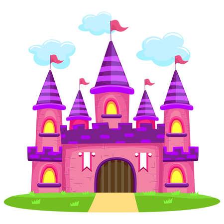 Illustration for Vector Illustration of Pink Castle - Royalty Free Image