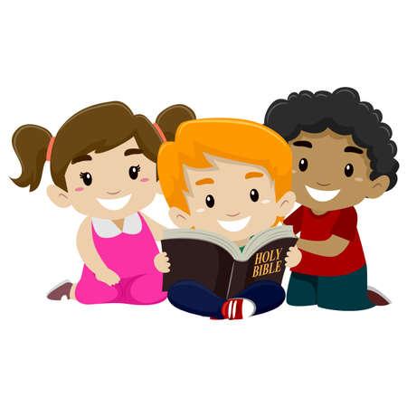 Illustration pour Vector Illustration of Children Reading Bible - image libre de droit