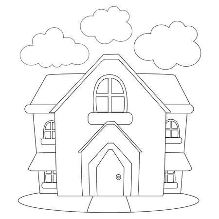 Illustration pour Coloring Book Outlined House - image libre de droit