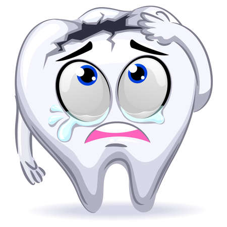 Vector Illustration of Crying Mascot Broken Tooth