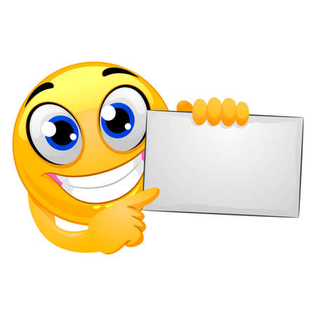 Vector Illustration of Smiley Emoticon Holding Blank Board