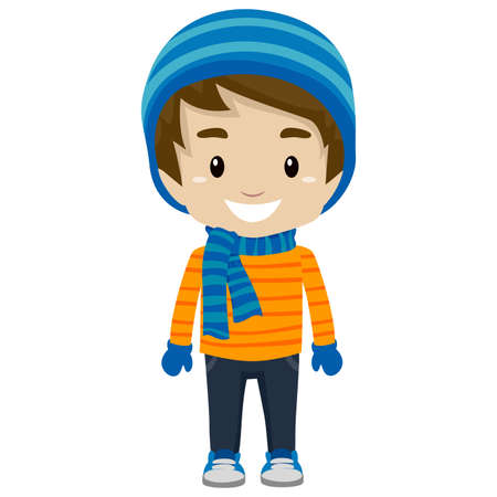 Illustration for Illustration of Little Boy wearing Winter Clothes - Royalty Free Image