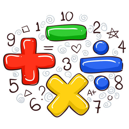 Illustration for Vector Illustration of Math Symbols and Numbers - Royalty Free Image