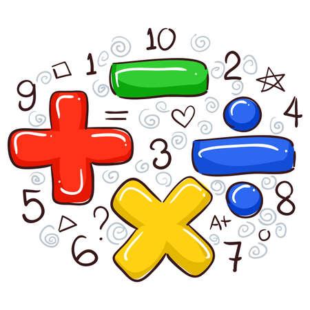 Ilustración de Vector Illustration of Math Symbols and Numbers - Imagen libre de derechos