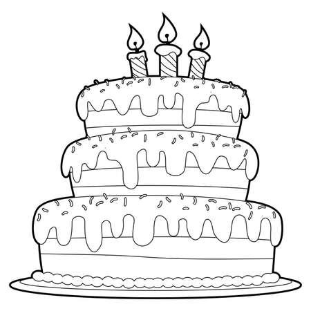 Vektor für Coloring Book Outlined Three Layer Cake - Lizenzfreies Bild