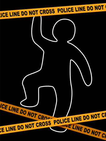 A Vector Illustration of Police Line Crime Scene with dead Body Trace.