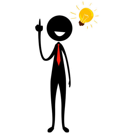 Illustration pour Vector Illustration of Stick Figure Silhouette Businessman with Light Bulb Idea - image libre de droit