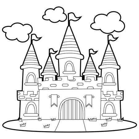 Coloring Book Outlined Big Princess Castle Illustration Tasmeemme Com