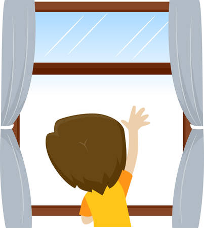 Illustration pour Vector Illustration of Little Kid Boy waving and looking outside the window - image libre de droit