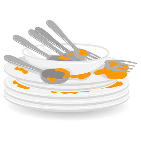 Illustration pour Vector Illustration of Stack of Dirty Plates with Spoon and Fork - image libre de droit