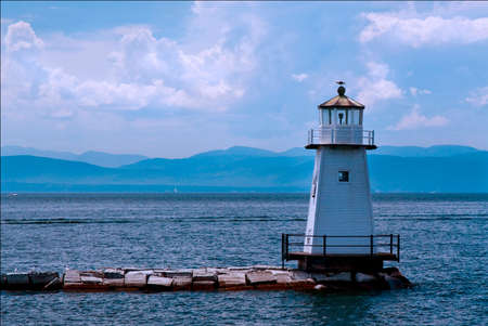 Burlington Breakwater North Lighthouse guides mariners around Vermont