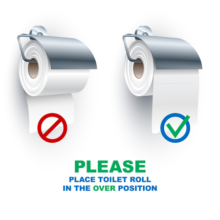 Toilet paper roll place onto the holder in the under and over position; Rule for the correct placement of toiletries