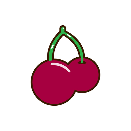 Red cherry vector icon. Unusual cherry design. Red cherry isolated on white background