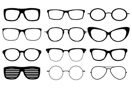 Illustration for A set of glasses isolated. Vector glasses model icons. - Royalty Free Image