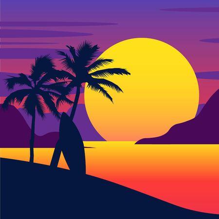 Illustration pour tropical summer beach. Gradient beach sunset landscape. vector backgrounds EPS - image libre de droit